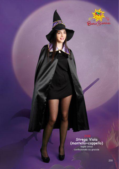 Strega Viola mantello e cappello costume carnevale