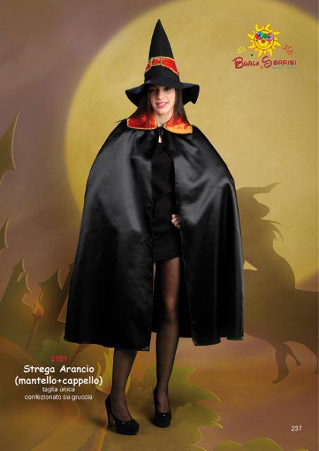 Strega Arancio (mantello + cappello) costume carnevale